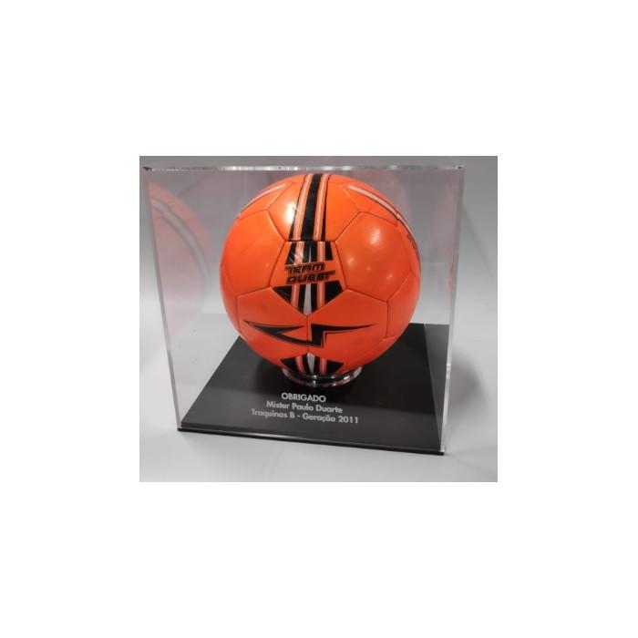 Caixa para Bola de Futebol 30*30 cm com base preta| expositor bola de futebol | Fabrica de acrílicos |Expositores  | Caixas em a