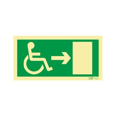 Sinal de Saída para a direita para pessoas com deficiência ou mobilidade reduzida