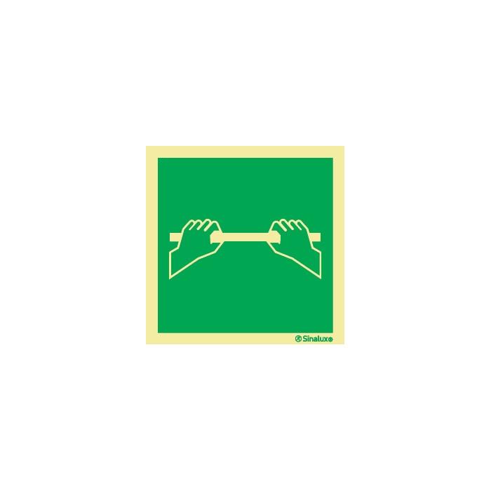 Sinal de saída de emergência, apoiar sobre a barra para abrir