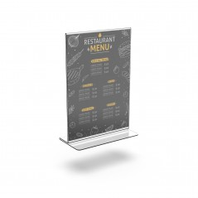 porta menus restaurantes  porta menus em T  expositores acrilico  porta preços acrilico  suporte acrilico balcão porta folhetos