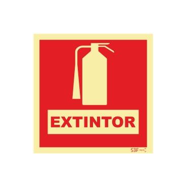 Sinal de extintor com descrição