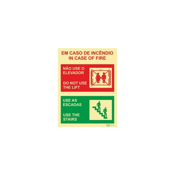Sinalização para elevadores, escadas mecânicas e tapetes rolantes