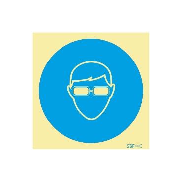 Sinal de obrigação, óculos de proteção opacos
