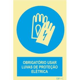 Sinal de obrigação, luvas de proteção elétrica com descrição