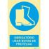 Sinal de obrigação, botas de proteção com descrição