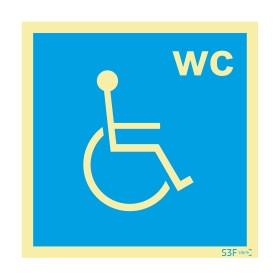 Sinalética Fotoluminescente|Sinalética |Sinal de informação, instalações sanitárias WC para utilizadores com mobilidade condicio