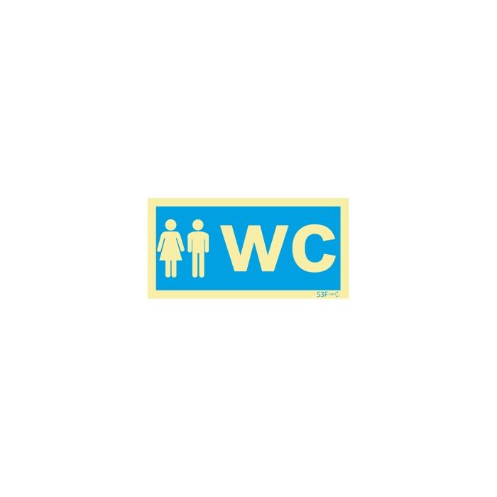 Sinalética Fotoluminescente|Sinalização informação |Sinal de informação, instalações sanitárias WC misto