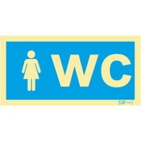 Sinalética Fotoluminescente|Sinalização informação |Sinal de informação, instalações sanitárias WC feminino