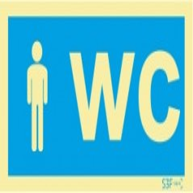 Sinalética Fotoluminescente|Sinalização informação Sinal de informação, instalações sanitárias WC Masculino
