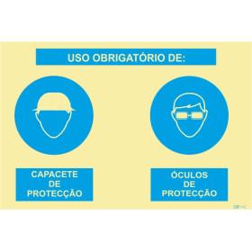 Sinalética Fotoluminescente|Sinal composto duplo, uso obrigatório de capacete de proteção e óculos de proteção