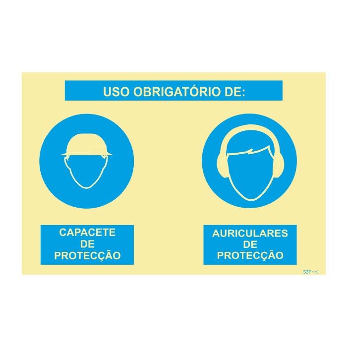 Sinalética Fotoluminescente|Sinal composto duplo, uso obrigatório de capacete de proteção e auriculares de proteção