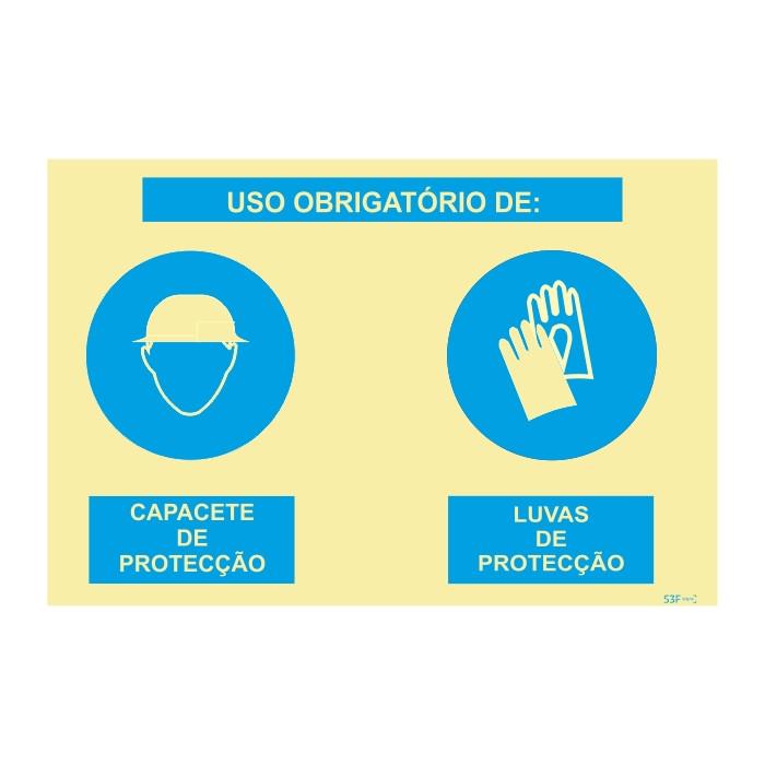 Sinalética Fotoluminescente Sinal composto duplo, uso obrigatório de capacete de proteção e auriculares de proteção