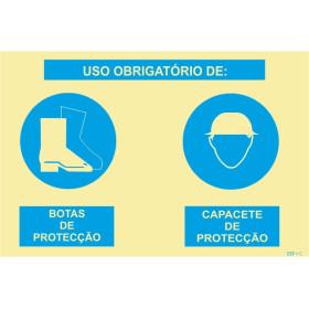 Sinalética Fotoluminescente|Sinal composto duplo, uso obrigatório de botas de proteção e capacete de proteção