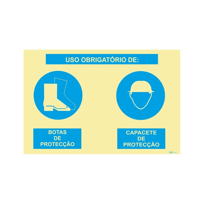 Sinalética Fotoluminescente Sinal composto duplo, uso obrigatório de botas de proteção e capacete de proteção