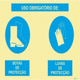 Sinalética Fotoluminescente|Sinal composto duplo, uso obrigatório de botas de proteção e luvas de proteção