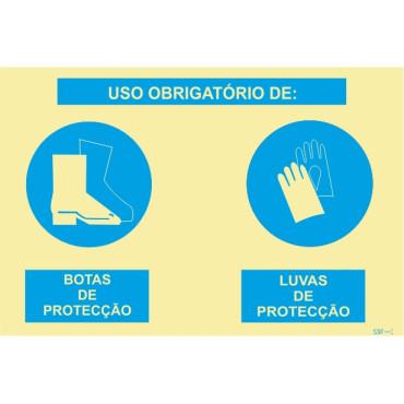 Sinal composto duplo, uso obrigatório de botas de proteção e luvas de proteção