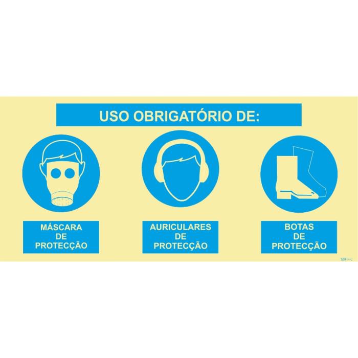 Sinal composto triplo, uso obrigatório de máscara de proteção, auriculares de proteção e botas de proteção