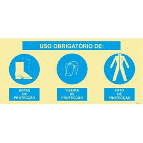 Sinal composto triplo, uso obrigatório de botas de proteção, viseira de proteção e fato de proteção