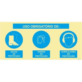 Sinal composto triplo, uso obrigatório de botas de proteção, viseira de proteção e auriculares de proteção