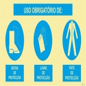 Sinal composto triplo, uso obrigatório de luvas de proteção, botas de proteção e roupa de proteção