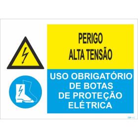 Sinal composto Duplo ,  botas de proteção electrifica e Perigo de Alta tensão