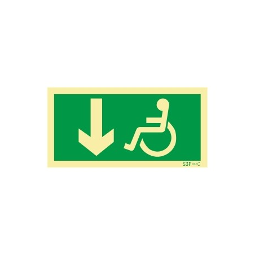 Sinal de Saída para pessoas com deficiência ou mobilidade reduzida