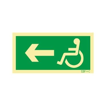 Sinal de Saída para a esquerda para pessoas com deficiência ou mobilidade reduzida