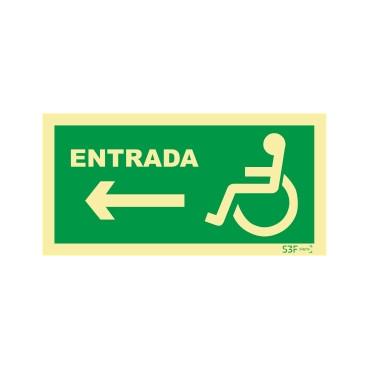 Sinal de Entrada à esquerda para pessoas com deficiência ou mobilidade reduzida
