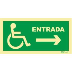 Sinal de Entrada à direita para pessoas com deficiência ou mobilidade reduzida