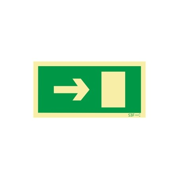 Sinal de evacuação, saída para a direita