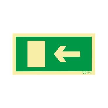 Sinal de evacuação, saída para a esquerda