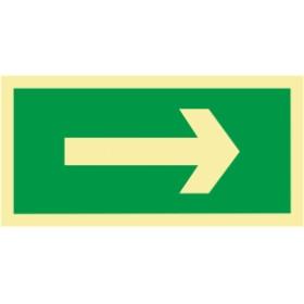 Sinal de evacuação, seta direita ou esquerda