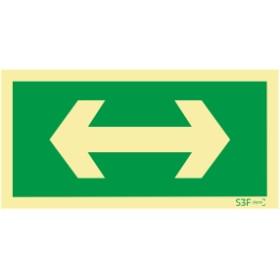 Sinal de evacuação, seta direita e esquerda