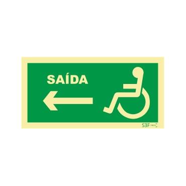Sinal de saída à esquerda para pessoas com deficiência ou mobilidade reduzida