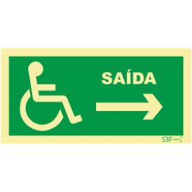 Sinal de saída à direita para pessoas com deficiência ou mobilidade reduzida
