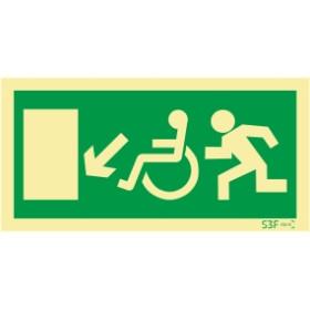 Sinal de Saída a descer à esquerda para pessoas com deficiência ou mobilidade reduzida
