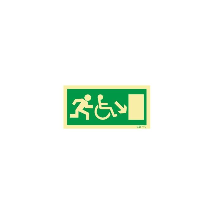 Sinal de Saída a descer à direita para pessoas com deficiência ou mobilidade reduzida