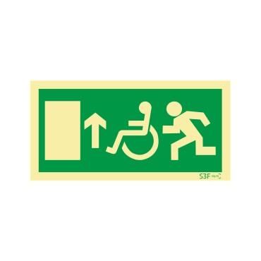 Sinal de Saída em frente para pessoas com deficiência ou mobilidade reduzida