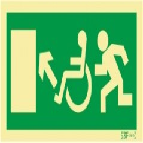 Sinal de Saída a subir à esquerda para pessoas com deficiência ou mobilidade reduzida