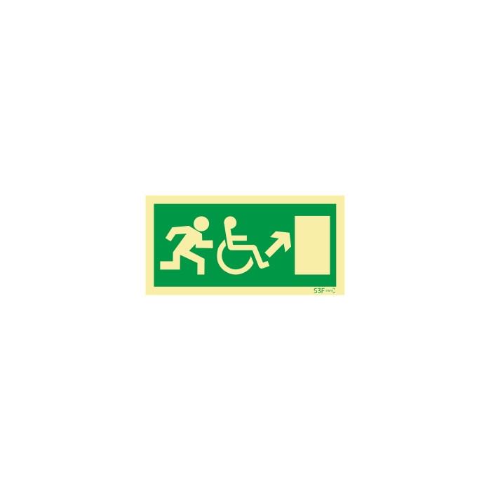 Sinal de Saída a subir à direita para pessoas com deficiência ou mobilidade reduzida
