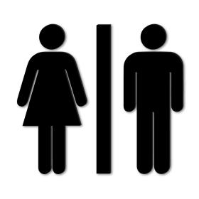 Sinal WC - acrílico preto
