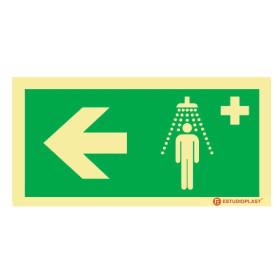 Sinalética Fotoluminescente|Saída de Emergência|Sinalização Segurança| Sinal de Chuveiro de emergencia à esquerda