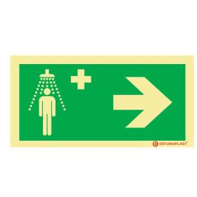Sinalética Fotoluminescente|Saída de Emergência|Sinalização Segurança| Sinal de Chuveiro de emergencia à direita