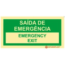 Sinalética Fotoluminescente|Saída de Emergência|Sinalização Segurança|Sinal de Saída de emergência Português e inglês