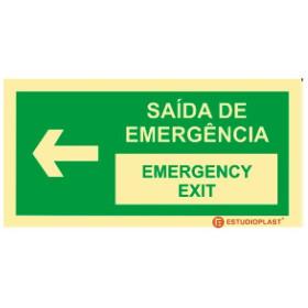 Sinalética Fotoluminescente|Saída de Emergência|Sinalização Segurança|Sinal de Saída de emergência Português e inglês Esquerda