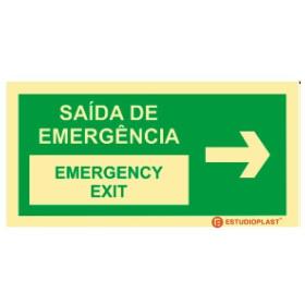Sinal de Saída de emergência Português e inglês Direita