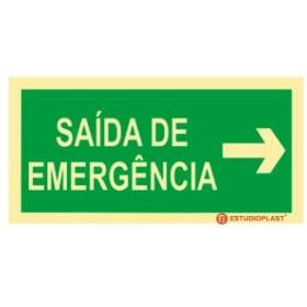 Sinalética Fotoluminescente|Saída de Emergência|Sinalização Segurança|Sinal de Saída de emergência Direita