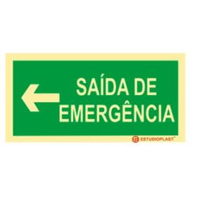 Sinalética Fotoluminescente|Saída de Emergência|Sinalização Segurança|Sinal de Saída de emergência Esquerda