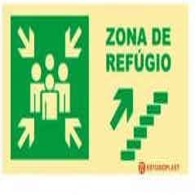 sinalética Fotoluminescente Saída de Emergência Sinalização Segurança   Sinal de zona de refúgio subir à direita