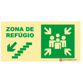sinalética Fotoluminescente Saída de Emergência Sinalização Segurança   Sinal de zona de refúgio descer à esquerda